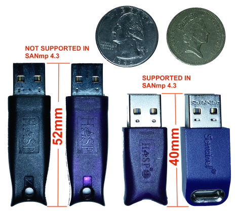 SANmp 4 3 Incompatible With Older (52mm) Hardware Dongles